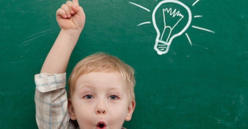 Child and blackboard