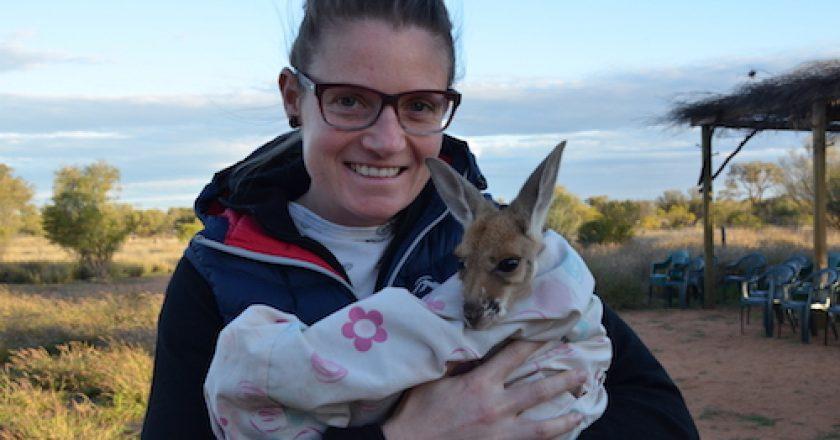 Teacher with kangaroo joey